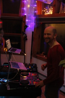 The DJ station at our launch party, December 2014